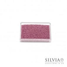 Microsfere di vetro rosa perlato da 0,7 mm x 50g