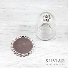 Campana di vetro con base argento da 38x25 mm