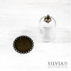 Campana di vetro con base bronzo da 38x25 mm