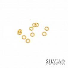 Anellino aperto color oro in acciaio 4 mm x 10 pz