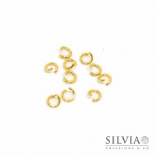 Anellino aperto color oro in acciaio 5 mm x 10 pz