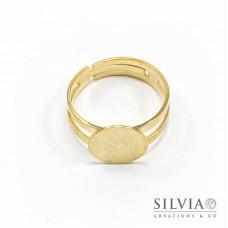 Anello con base da 12 mm per incollare color oro in zama