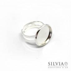 Anello con base cabochon da 16 mm color argento in rame