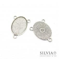 Base cammeo connettore 3 anelli ovale argento antico in zama 31x23mm vassoio 25x18mm
