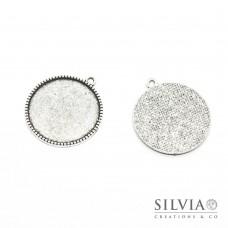 Base cammeo tonda argento antico 30x27 mm vassoio 25 mm