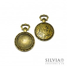 Base cammeo orologio bronzo 65x45 mm vassoio 35 mm
