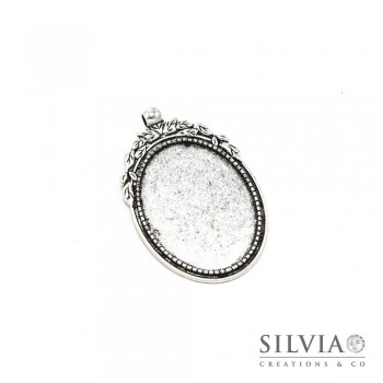 Base cammeo ovale argento antico 56x35 mm vassoio 40x30 mm