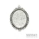 Base cammeo ovale argento antico 57x39 mm vassoio 40x30 mm