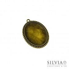 Base cammeo ovale bronzo 51x37 mm vassoio 40x30 mm