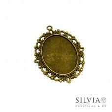 Base cammeo ovale bronzo 61x42 mm vassoio 40x30 mm