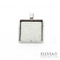 Base cammeo quadrata argento antico 37x29 mm vassoio 25x25 mm