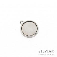 Base cammeo argento antico 27x23 mm vassoio doppio 20mm