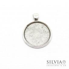 Base cammeo tonda argento antico 37x28 mm vassoio 25 mm