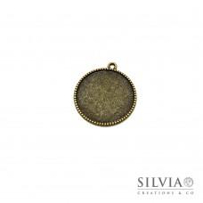 Base cammeo tonda bronzo 30x37 mm vassoio 25 mm