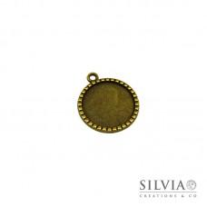 Base cammeo tonda bronzo 35x30 mm vassoio 25 mm