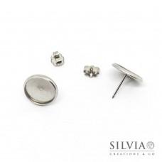 Orecchini a chiodo con base a cabochon in acciaio da 12 mm 2 pezzi