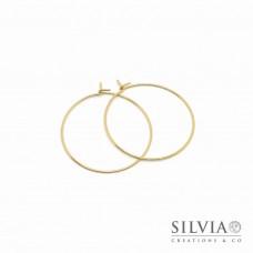 Orecchini a cerchio in acciaio color oro da 30 mm x 2pz