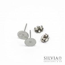 Orecchini a chiodo con disco da 8 mm  in acciaio inox x 10pz