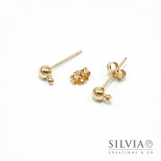 Orecchini a chiodo oro in ottone con pallina da 4 mm x 4pz