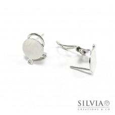 Orecchini a clip e perno rodio in ottone con base da 10 mm e anellino x 2 pz