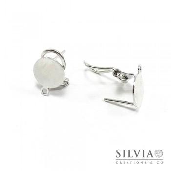 Orecchini a clip e perno rodio in zama con base da 10 mm e anellino x 2 pz