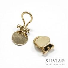 Orecchini a clip oro in zama con base da 11 mm x 2pz