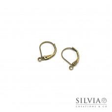Orecchini a monachella chiusa con gancio bronzo in ottone da 15x10 mm x 2 pz