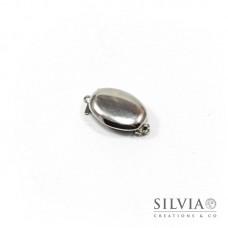 Chiusura ovale liscia rodio in ottone 21x13 mm