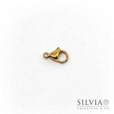 Chiusura a moschettone color oro in acciaio da 10X6 mm