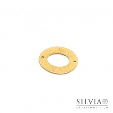 Link connettore a forma di ovale oro opaco 28x25 mm
