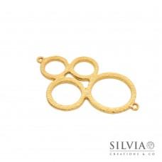 Link connettore a forma di quattro cerchi oro opaco 56x34 mm