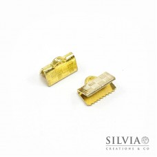 Terminale a stringere oro in ottone da 10 mm x 10pz