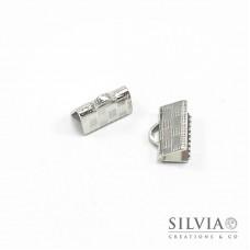 Terminale a stringere rodio in ottone da 10 mm x 10pz
