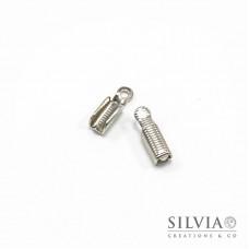 Terminale chiudi cordoncino con anellino rodio da 11x3 mm x 30pz