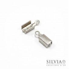 Terminale chiudi cordoncino con anellino rodio da 13x5 mm x 20pz