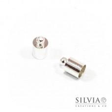 Terminale liscio per cordoncino con anellino argento in ottone da 6 mm x 10pz