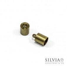 Terminale liscio per cordoncino con anellino bronzo in ottone da 6 mm x 10pz