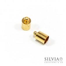 Terminale liscio per cordoncino con anellino oro in ottone da 6 mm x 10pz