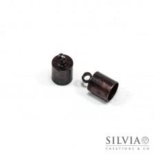 Terminale liscio per cordoncino con anellino rame in ottone da 6 mm x 10pz