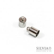 Terminale liscio per cordoncino con anellino rodio in ottone da 6 mm x 10pz