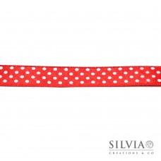 Nastro raso rosso a pois 13 mm x 25m