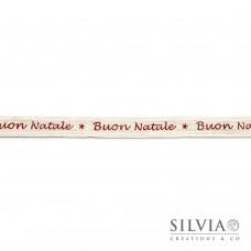 """Nastro cotone panna con scritta """"buon natale"""" 16 mm x 1m"""