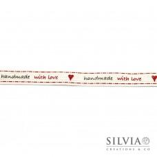 """Nastro cotone panna con scritta """"handmade with love"""" 16 mm x 1m"""