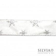 Nastro natalizio bianco fiocchi di neve glitter argento 50 mm x 1m