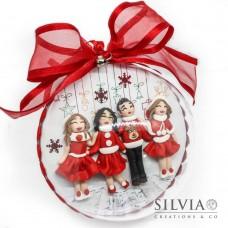 Palla di Natale con 4 personaggi personalizzati