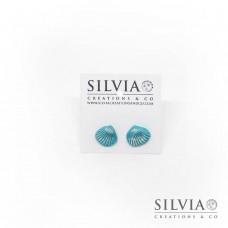 Orecchini a lobo con conchiglia azzurra e argento 12x10 mm