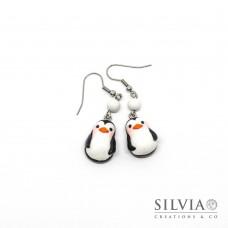 Orecchini pendenti con pinguino