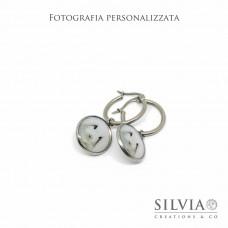 Orecchini cerchio in acciaio personalizzati con fotografia del vostro amico a 4 zampe