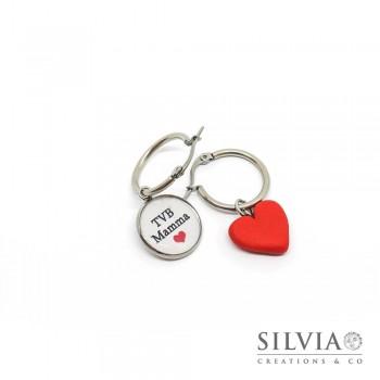 """Orecchini cerchio in acciaio ciondolo """"TVB Mamma"""" e cuore rosso"""