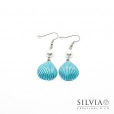 Orecchini pendenti con conchiglia azzurra e argento 55x20 mm